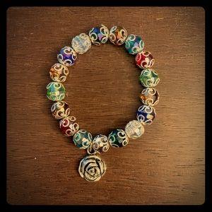 Silver Scroll Multi Colored Beaded Bracelet
